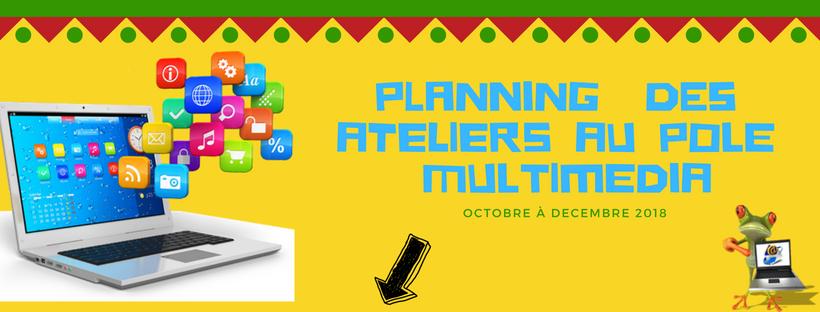 Planning Octobre à Décembre 2018