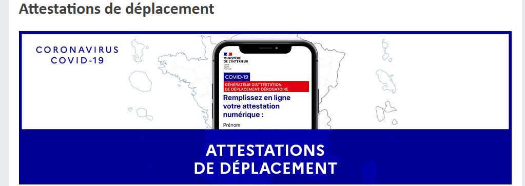 Attestation de deplacement