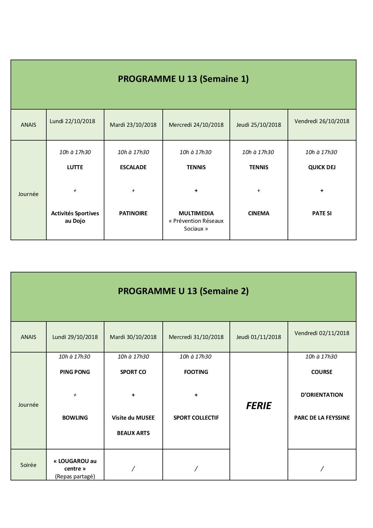 programme U13